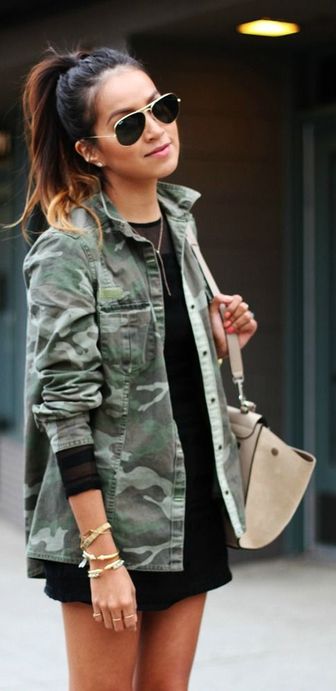 camo jacket and LBD...would love the dress to be LONGER more modest and the look would be GREAT! Love her hair too!