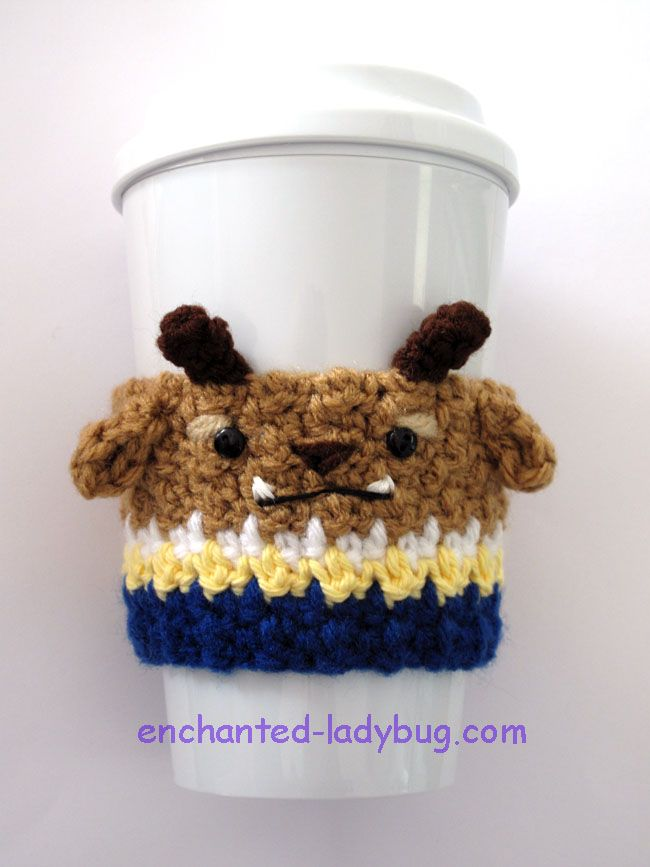 Free crochet Beast coffee cup cozy pattern. Inspired by the Beast character from Beauty and the beast. Free crochet pattern PDF download.