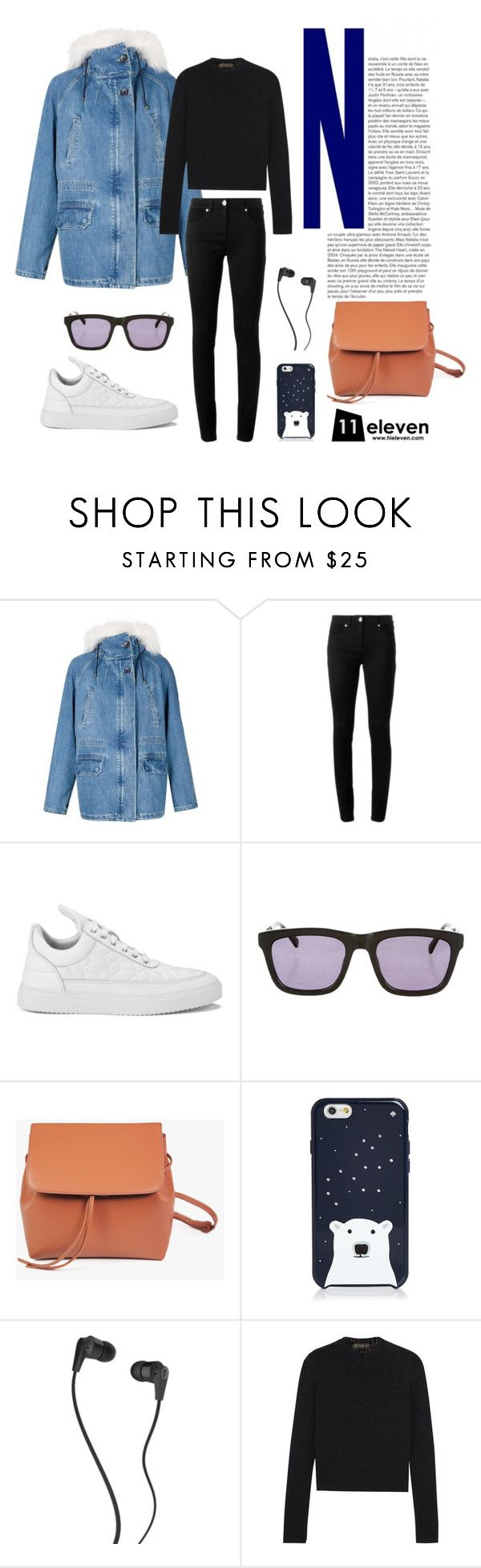 """Fur Trimmed Denim Parka × White Low Top Sneakers"" by hielevencom ❤ liked on Polyvore featuring Yves Salomon, Versace, Filling Pieces, Karen Walker, Kate Spade, Skullcandy, women's clothing, women's fashion, women and female"