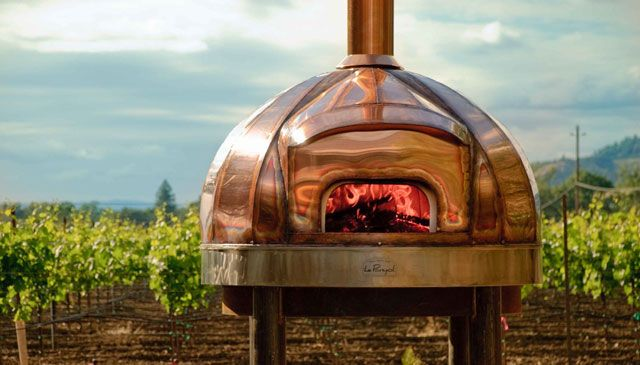 Copper pizza oven at Medlock Ames Winery; Maine Wood Heat