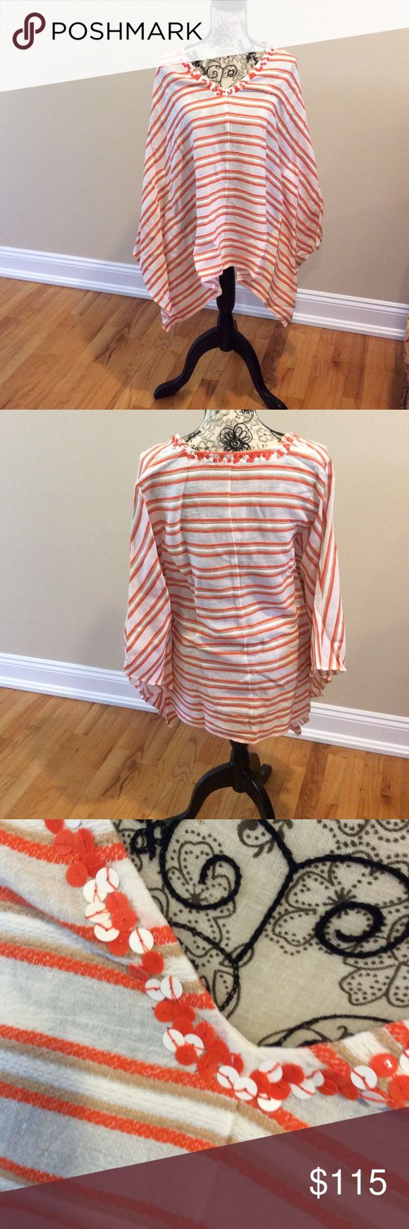 Nwt Michael Kors batwing top Nwt orange white and beige striped batwing top MICHAEL Michael Kors Tops Blouses