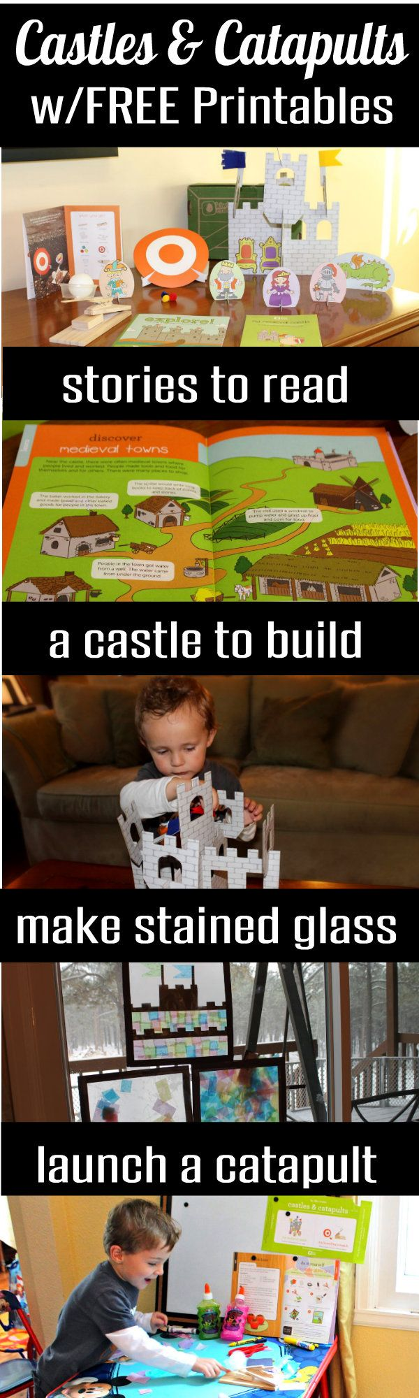 Cute and Fun! Castles and Catapults Preschool Activities with FREE Shields Printables and loads of ideas for Medieval Kids Games and Crafts from HappyandBlessedHome.com