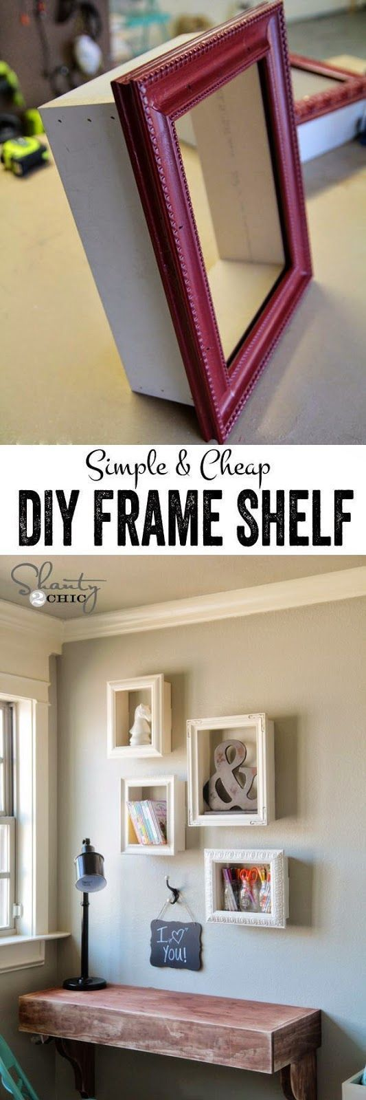Learn how to make these cute and simple DIY frame shelves. It's a great way to reuse old frames or dress up frames and fill open wall space in a unique way.