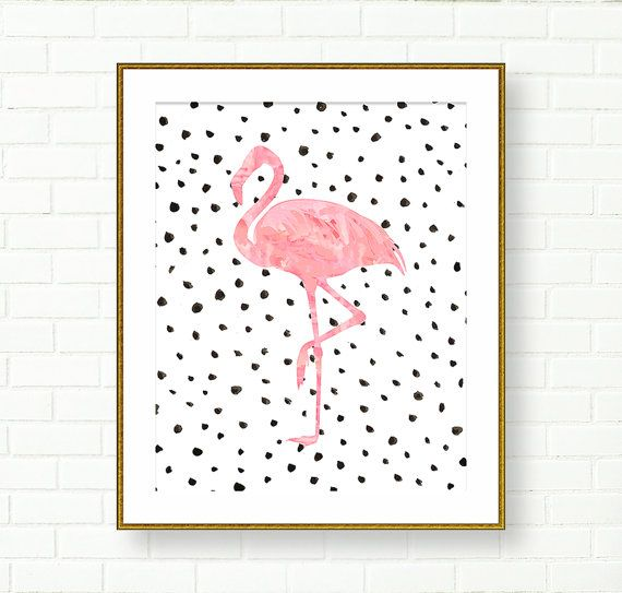 Flamingo Art Print, Pink Black, Dalmatian Print, Vanity Wall Decor, Office, Glam Art, Tropical Birds, Modern Wall Decor, Living Room, Pastel