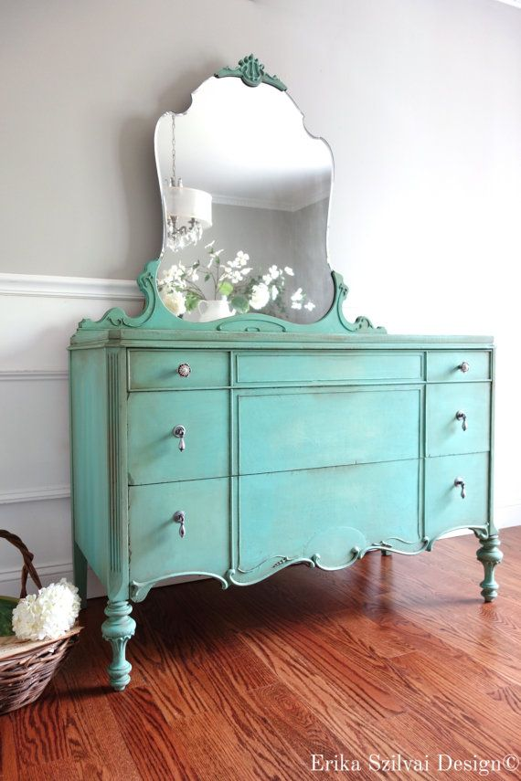 SOLD - Antique 1920's Ornately Carved French Country Hand Painted Turquoise Aquamarine Long Dresser with Mirror