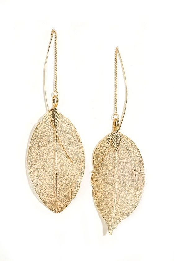 Leaf Bed Gold Threader Earrings In 2018 Jewelry And Accessories Pinterest