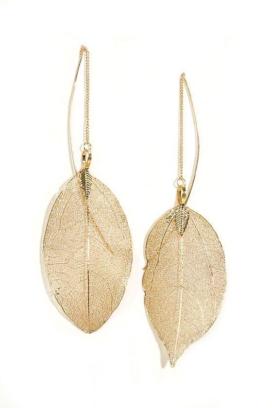 Leaf Bed Gold Leaf Threader Earrings Sponsored by Lulus.com!
