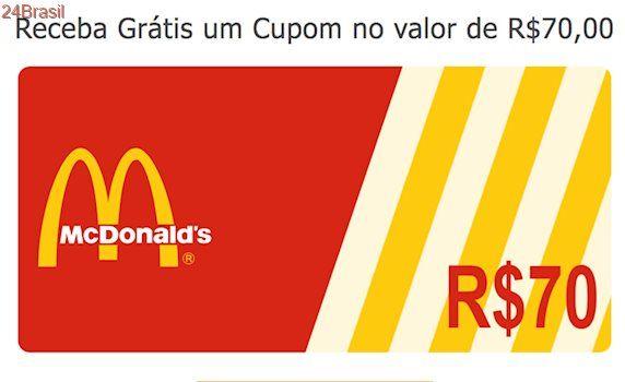 Cupom de desconto de R$ 70 no WhatsApp é falso, diz McDonald's