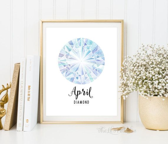 ❣ Please check our announcements tab for coupon codes! ❣  April Diamond Birthstone Printable  ❥ No physical item will be shipped to you. You are purchasing high resolution JPEG files. All files are 8 x 10 inches at 300 DPI.  Download Includes: 1 RBG JPEG 1 CMYK JPEG If you do not wish to print from home, some amazing local print shops such as Staples and Costco provide beautiful wall art prints at very inexpensive prices. Alternatively, you may use online printer shops such as Shutterfly…