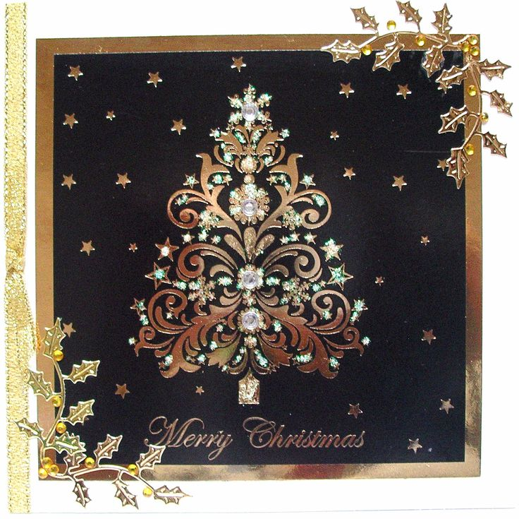 glittered image with die-cut holly leaves, Garry, Christmas 2015