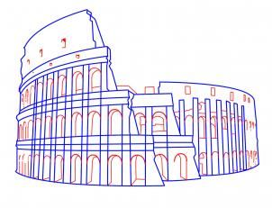 how to draw the colosseum step by step tutorial, Rome, Italy.