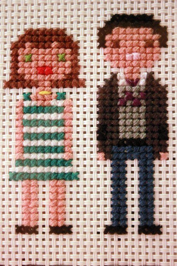 Large Cross Stitch Family Portrait Custom by ThePaperCraneStudio