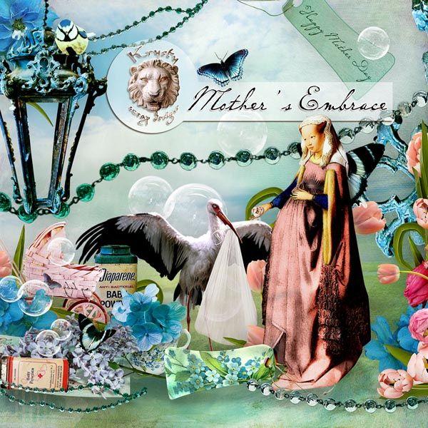 Mother's Embrace by Krystyscrapdesigns #digitalcollage #digital #art #photomanipulation #artjournaling #scrapbook #blue #motherday #mother