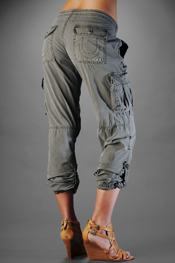 New Women39s Black Midrise Cropped Cargo Pants