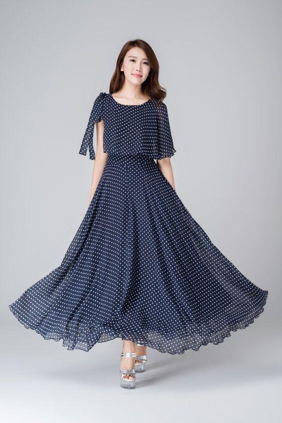 Blue polka dot dress, chiffon dress, womens dresses, prom dress, maxi dress, summer dress, high waisted dress, handmade dress 1539