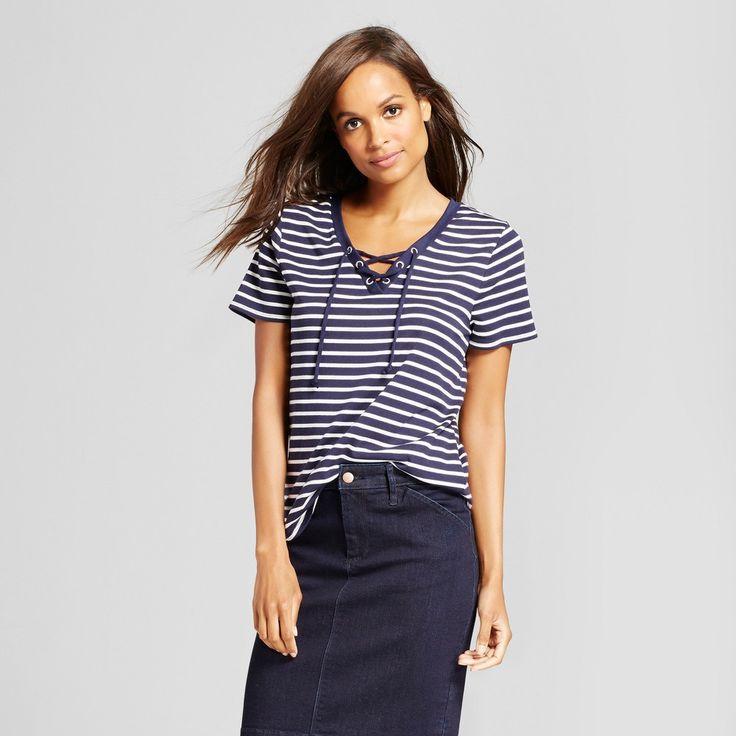 Women's Striped Short Sleeve Lace Up Tee - Merona Navy (Blue) White Stripe Xxl