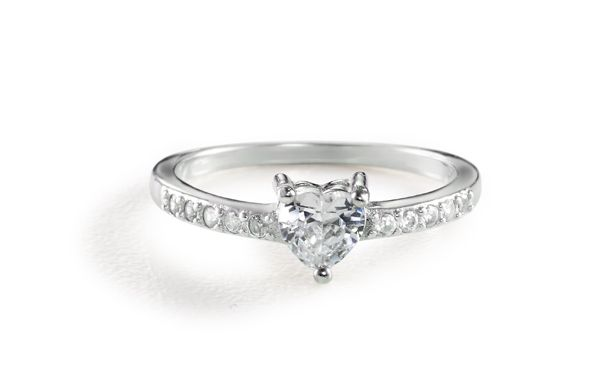 Cubic Zirconia Heart Solitaire Ring Silver