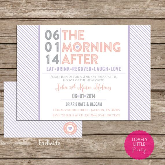 Modern Post Wedding Breakfast Invitation DIY by lovelylittleparty