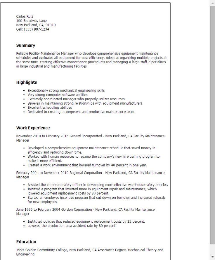 Resume Templates: Facility Maintenance Manager