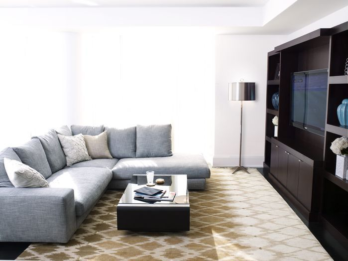 Keep It Simple With A Comfortable Sectional And Dark Wood Like This Contemporary  Living Room Designed