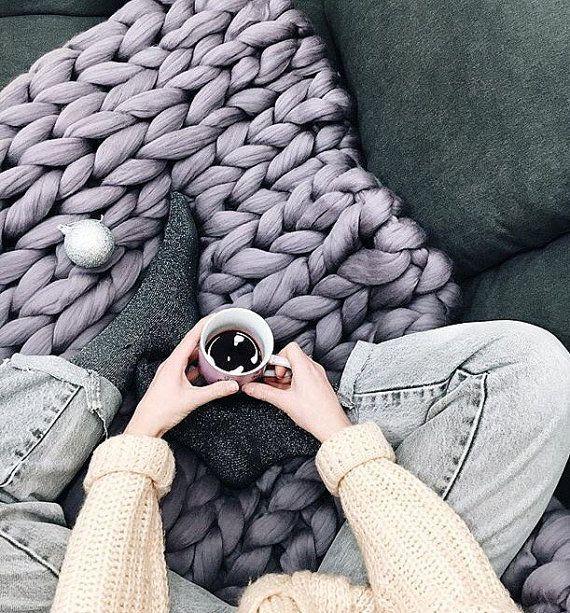 Chunky Knit Decke Chunky Wolle Decke Decke von KnitTendance auf Etsy