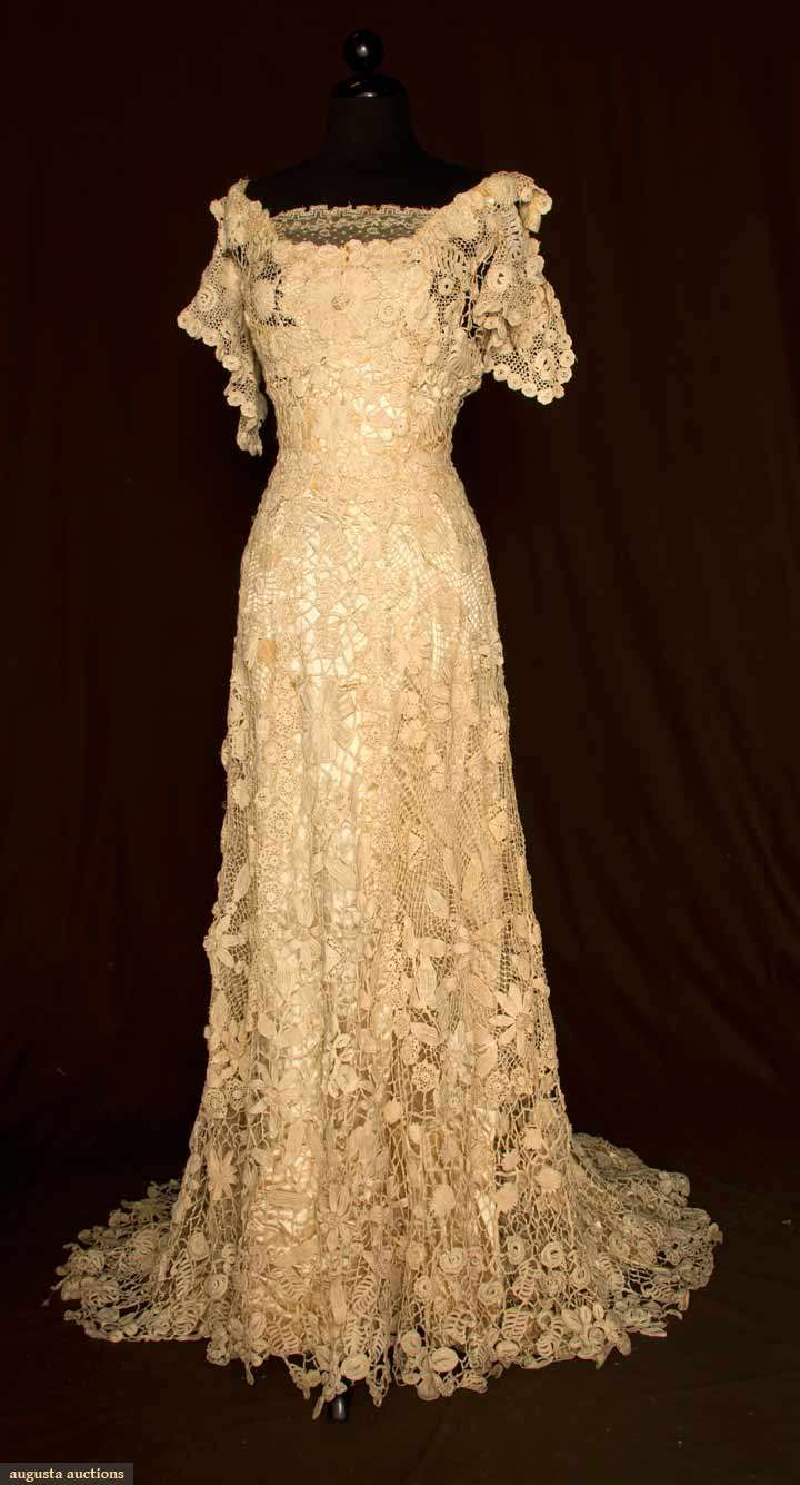 1908-Vintage Irish Crochet Gown: Cap sleeve low rounded neck line & fitted through high waist.  Augusta-auction.com