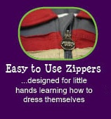 12 reasons why Peekaboo Beans is different from other kids clothing brands.  REASON #7 - EASY TO USE ZIPPERS