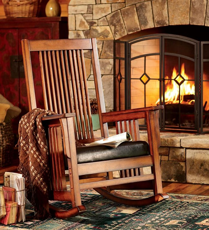 Arts and Crafts Mission Fireplace with Morris Chair