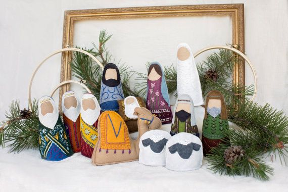 "Nativity Set made of wool blend felt and embroidered with 100% cotton embroidery floss by KasiaJ, on Etsy;  the shepherds are about 6.5"" tall"