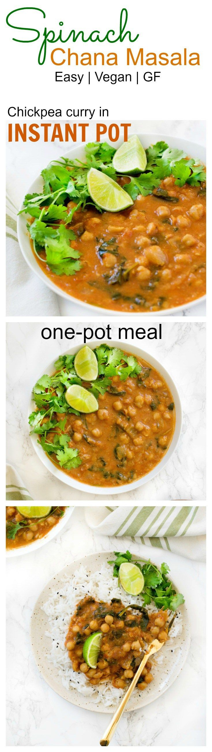 #vegan #glutenfree Chickpea curry / Spinach Chana Masala in a pressure cooker #instantpot from scratch. Ready in minutes without baby sitting the curry.