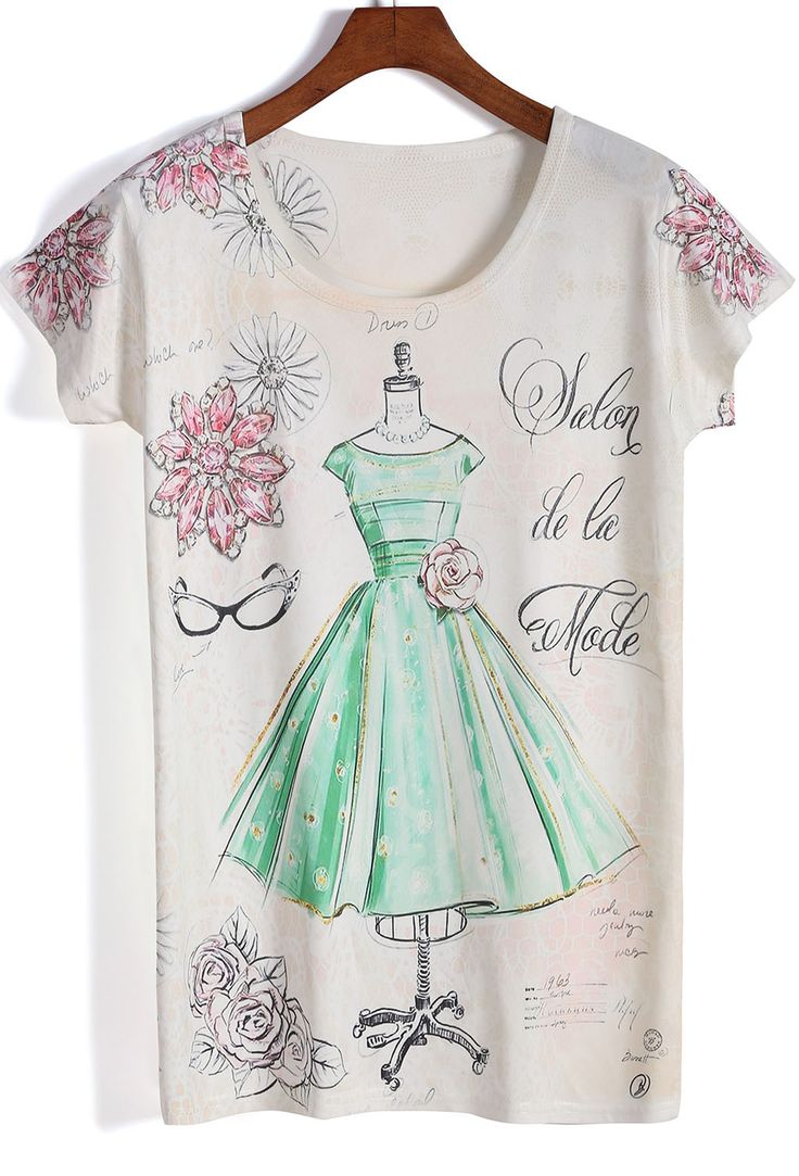 Apricot Short Sleeve Dress Print T-Shirt