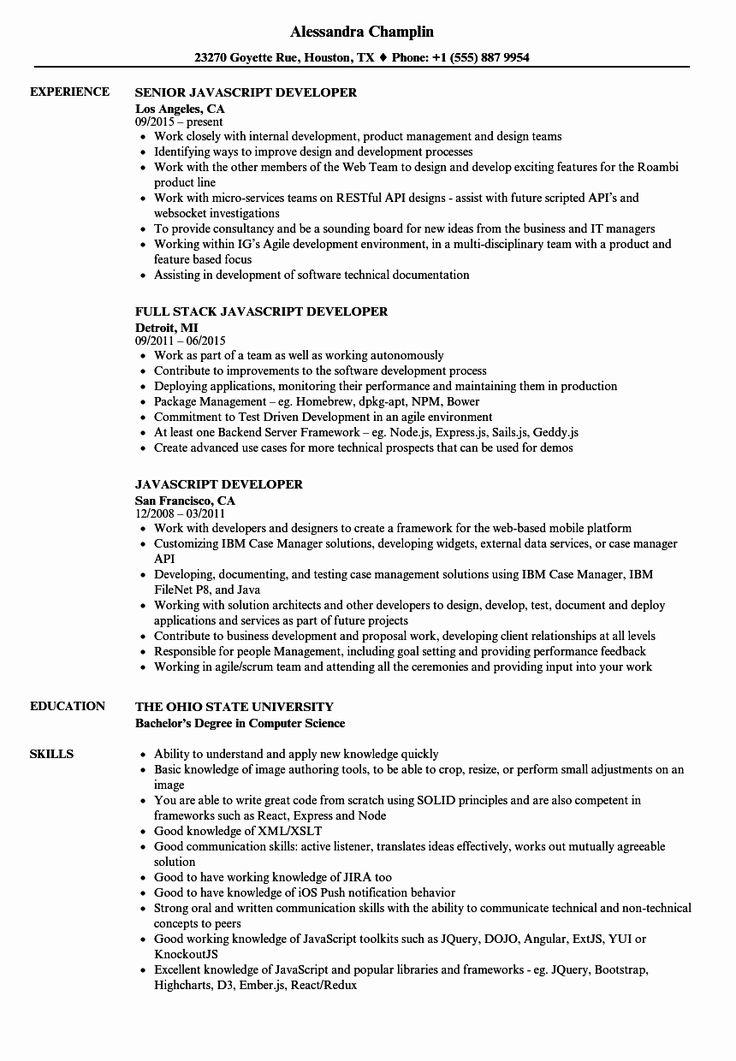 20 Full Stack Engineer Resume in 2020 Resume examples