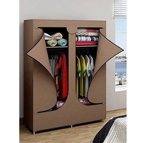 Portable Wardrobe Closet Rack Storage Organizer Double Door Shoes Linen Garment