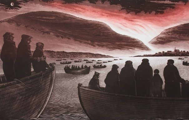David Blackwood etching, Fire in Indian Bay, 1979, 20 X 31 inches