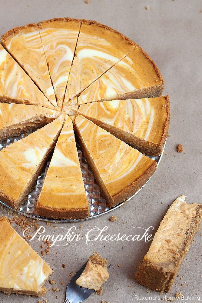 Two fall favorite desserts - pumpkin pie meets velvety cheesecake in this scrumptious marble pumpkin cheesecake