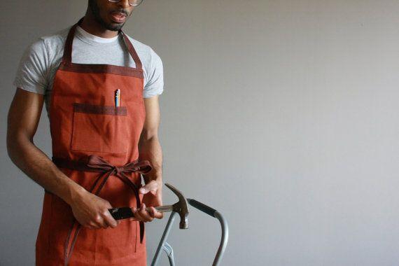 Workman's Apron in Rust Orange Shop apron Full apron by SSatHome