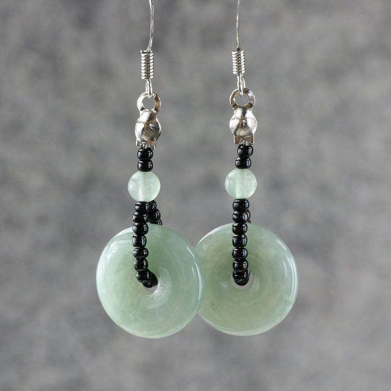 Jade hoop earrings handmade ani designs by AnniDesignsllc on Etsy, $12.95