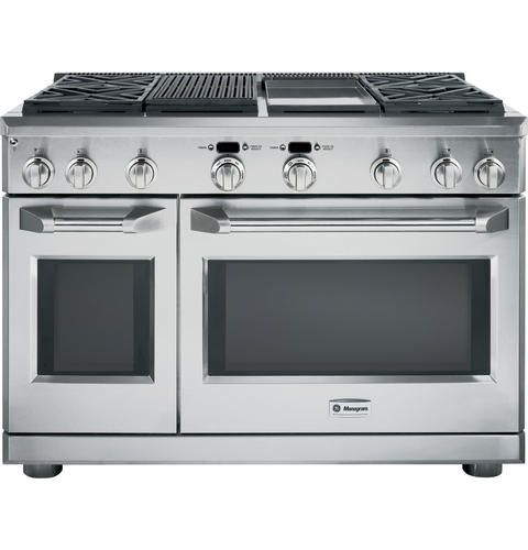 "ZDP484NGPSS - 48"" Dual-Fuel Professional Range with 4 Burners, Grill, and Griddle (Natural Gas) - The GE Monogram Collection"