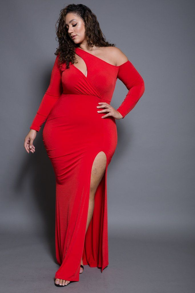 4e88708bc2f Plus Size off Shoulder Keyhole Long Sleeved Maxi Dress | Curvy ...
