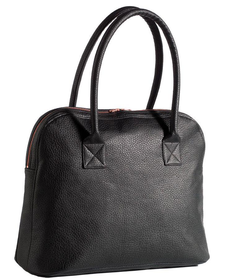 Bøffel læder look sort PU coated - Stof & Stil