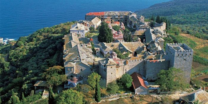 Monastery of Megisti Lavra (Great Lavra) in Athos - the oldest monastery on Mount Athos it dates from 963 AD, 10th century