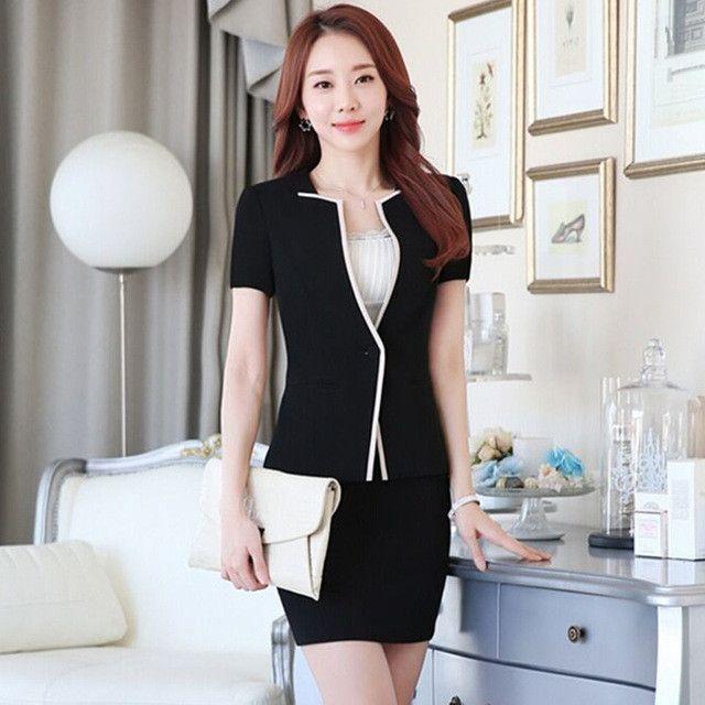 Summer slim work wear women's skirt suit formal ladies office wear plus size suit tooling Patchwork Decoration blazer with skirt