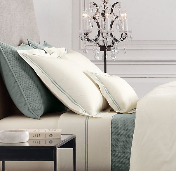 Italian Hotel Satin Stitch Ivory Bedding Collection