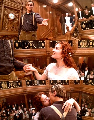 Titanic Movie - Jack and Rose at the Clock on the Grand Staircase