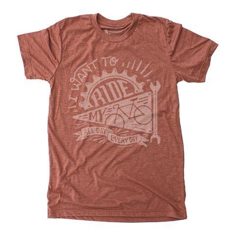 Ride My Bike - Unisex Tri-Blend Clay Red T-Shirt