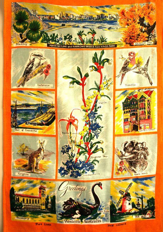 Perth Western Australia Souvenir Tea Towel  60s by FunkyKoala
