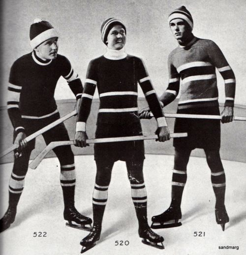 Hand knit hockey outfits