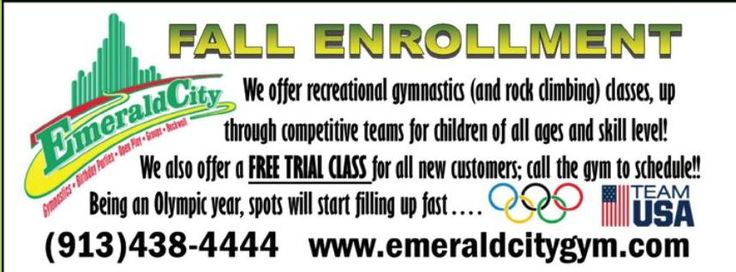 Get your FREE trial class at Emerald City Gymnastics!! Call 913-438-4444 to book your class and lean more!  // For more family resources visit www.ifamilykc.com #ClippedOnIssuu from iFamily KC September 2016
