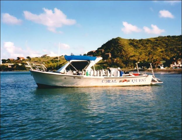 Photo: The Coral Quest dive boat of Oualie Beach, #Nevis. Circa 1998 Wasn't this Ellis Chadderton's boat?