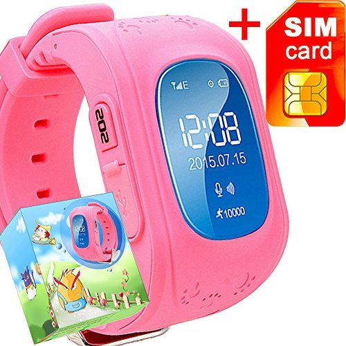 GBD GPS Tracker Smart Watch for Kids with Sim Card Smartwatch Phone Anti-lost Finder SOS Gprs Children Fitness Tracker Wrist Watch Bracelet with Pedometer Parents Control App for Smartphone(Pink) *** Be sure to check out this awesome product.